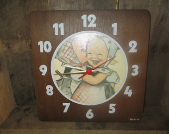 wooden hummel clock quartz 80's wall clock