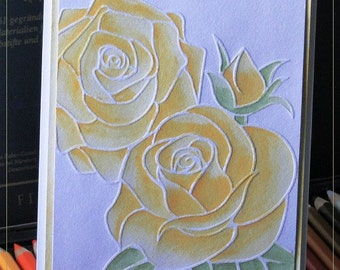 Watercolour embossed roses card
