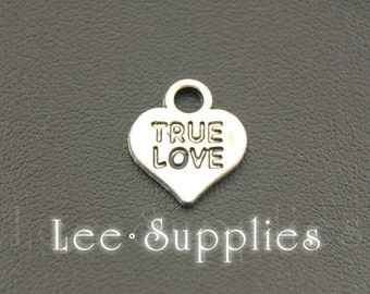 30pcs Antique Silver Alloy Ture Love Heart Charms Pendant A1079