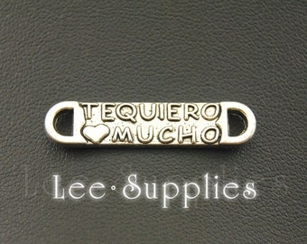 10pcs Antique Silver Alloy Te Quiero Mucho I Love You Connector Charms Pendant A1059
