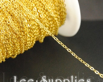 1.5x1mm Gold Plated Chain Flat Cable Necklace Chain - Soldered C09