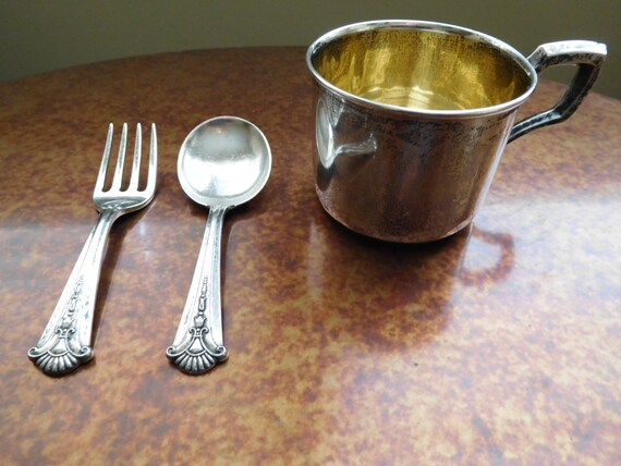 Baby cup fork and spoon sterling silver by corneliasvintage for Sterling silver baby spoon and fork