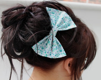 Hair Bow, Vintage Hair Bow, Floral Hair Bow, Retro Hair Clip, Vintage Hair Clip, Women's Hair Accessory, Women's Hair Clip, Hand Made Bow