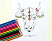 Animal Coloring Page | Indian Holy Cow | Adult Coloring Page