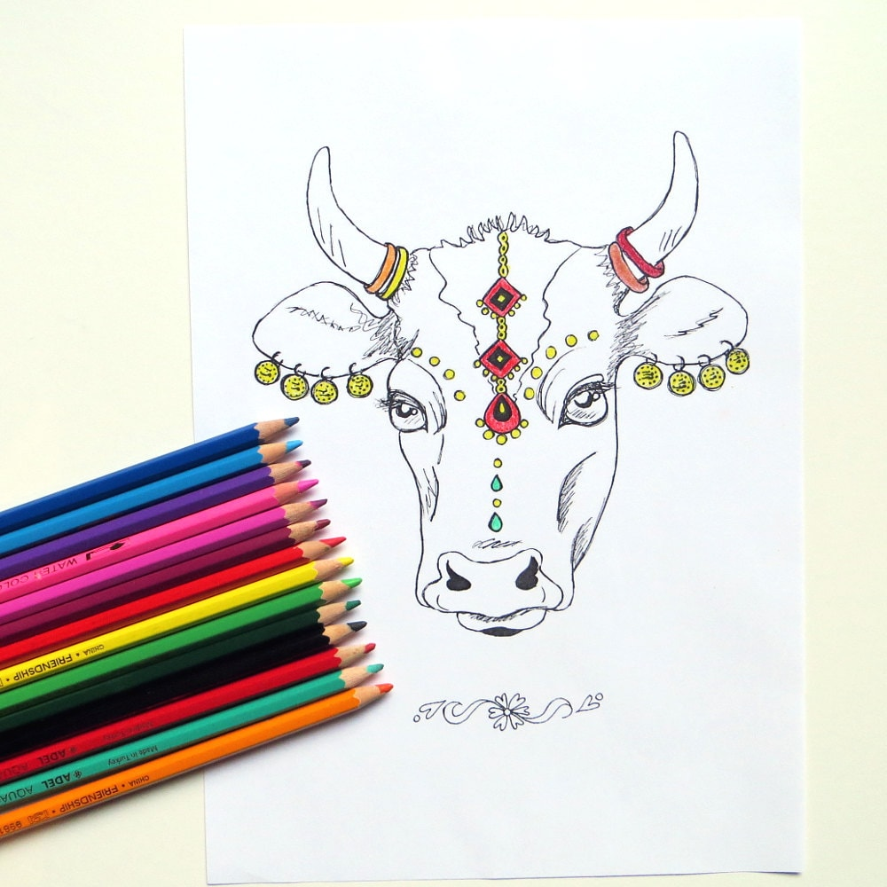 animal coloring page indian holy cow coloring page