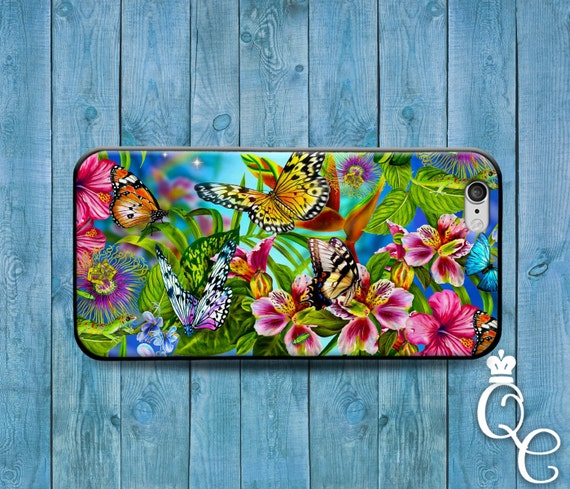 iPhone 4 4s 5 5s 5c SE 6 6s 7 plus iPod Touch 4th 5th 6th Generation Beautiful Cute Butterfly Insect Colorful Flower Case Cool Fun Cover