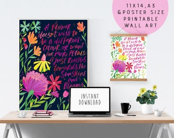 Printable Inspiring Quote Art - It Just Blooms - Printable Quote Artwork - Inspiring Wall Art - Printable Floral Art - Instant Download