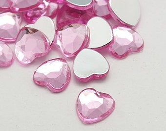 18mm rhinestone hearts - Light pink hearts - Set of 20 - Ready to ship - Crafting resins - Heart bling - Jewelry cabochons - DIY crafts