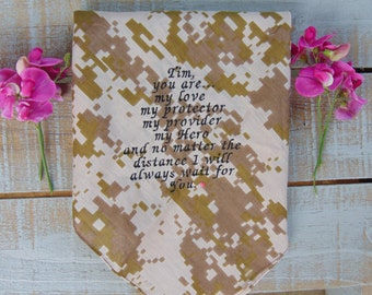 Embroidered USMC Wedding Handkerchief, Marines Wedding