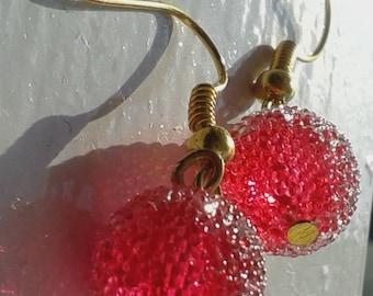 Acrylic Sugar Bead Earrings - Crystal