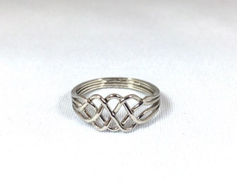 Puzzle Ring , the Original Friendship ring in Sterling Silver Slim Style