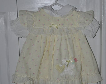 Vintage Yellow Baby Dress 12 months