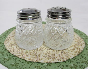 Cut-Glass Salt and Pepper Shakers, Vintage Glass Salt and Pepper Shakers