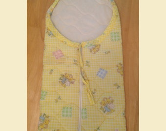 Vintage Yellow Quilted Riegel Baby Blanket With Zipper 1960s, Vintage Yellow Riegel Baby Bunting, Vintage Baby Blanket With Bunnies