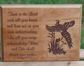 Laser Engraved Wood Plaque Pheasant Scene with Scripture - Bible Verse Art - Proverbs 3:5-6 - Outdoorsman Gift Idea