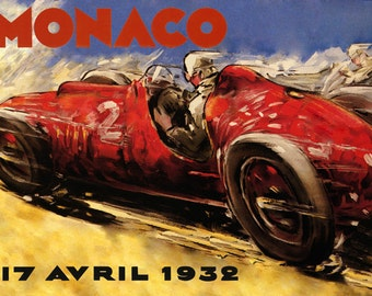 Car 1932 Monte Carlo Monaco Automobile Race Grand Prix European Vintage Poster Repro FREE SHIPPING in USA