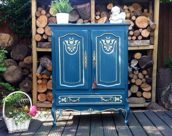 SOLD ~~~Stunning Carved French Shabby Chic Sideboard Cupboard Cabinet in Annie Sloan Aubusson Blue Hand Painted Furniture