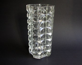 large, heavy glass vase, France, 70s, vintage