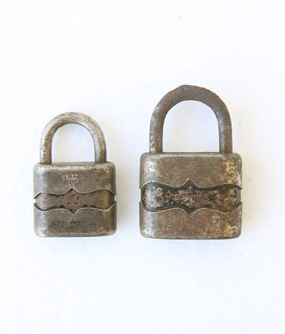 Vintage padlocks Set of two Industrial decor 1960's metal locks Hungary made Rustic decor Collectible Rusty Door lock Salvaged Old school