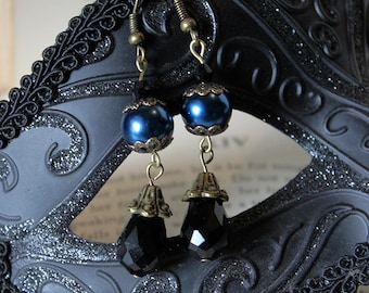 Gothic Navy Blue and Black Earrings
