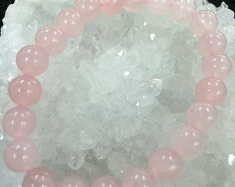 Natural Round Rose Quartz Crystal Bracelets, Pink Crystals, Unique Gifts, 8mm beads and 10mm beads