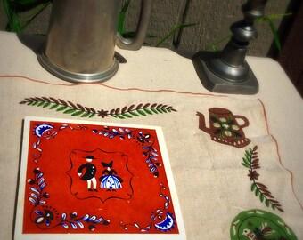 Vintage Folk Art Trivet, Pennsylvania Dutch Ceramic Tile