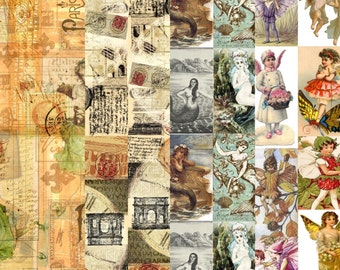 10 sheets of decoupage papers A4 size. 4 styles. Rome, Paris, mermaids and fairies.. Unique designs...magical..