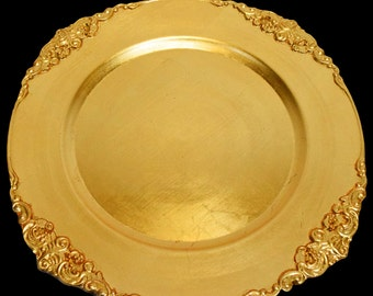 royal edge charger plates in gold and silver for wedding and all party decor