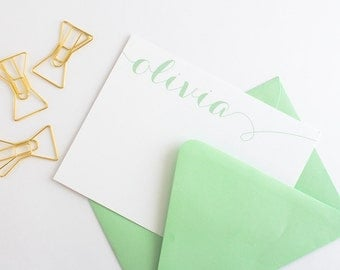 Personalized Stationery - Set of 10 // Women's Modern Calligraphy Stationery // Women's Note Card Set // Girl's Note Cards Set
