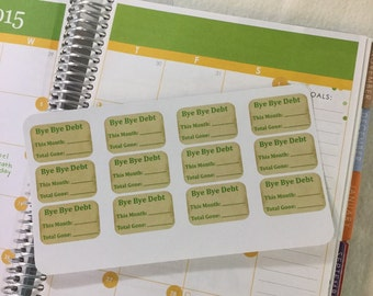 12 Bye Bye Debt Planner Stickers.