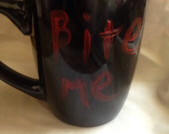 Bite Me goth mug hand painted