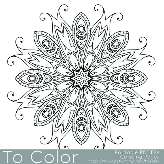 printable coloring pages for adults mandala snowflake - Mandala Snowflakes Coloring Pages