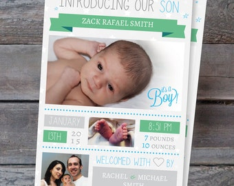 Printable* Baby Boy Birth Photo Announcement Thank You Cards Personalised Custom Digital PDF - Print Yourself! Can amend for twins too!