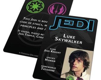 Custom ID Card Badge: Star Wars Jedi, Luke Skywalker, Tatooine, Sci-fi Cosplay Costume, Birthday or Christmas Present Gift