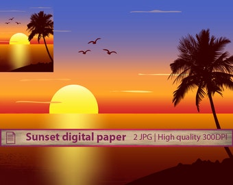 Paradise sunset digital paper, holiday beach coast tropical, palm tree sea, commercial use, digital instant download, jpg 300dpi