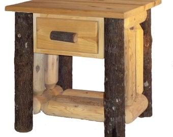 Hickory & Cedar Log End Table w/ Drawer