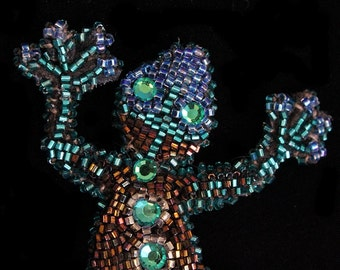 Bead Embroidery Gecko
