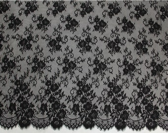Black Chantilly Lace Fabric,Evening Dress Lace,Fabric for Craft Making ,3 meters per pc