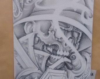 Greeting Card - Prison Art Skull Smoking with Money