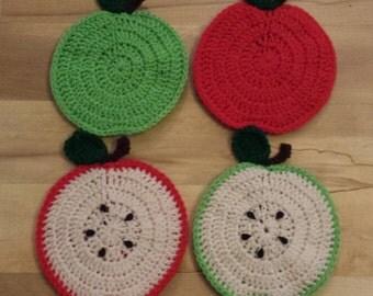 One Handmade Crocheted Apple Potholder/Trivet