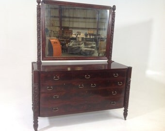 Antique Mahogany  Geo. C. Flint.  Empire dresser with mirror