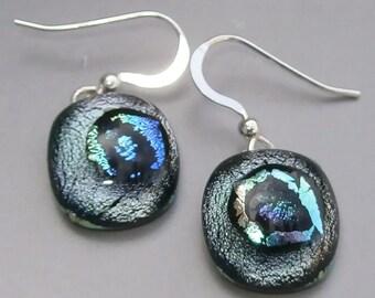 Fused dichroic glass drop earrings