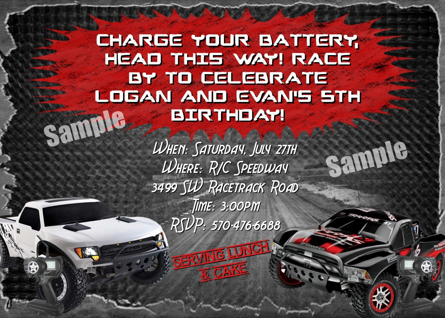 rc remote control car cars invitation boys girls birthday 🔎zoom