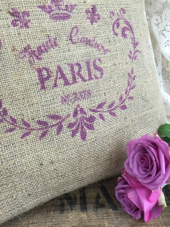 Rustic Burlap PARIS French style Cushion // Hessian Jute Cushion // Hand Stenciled Cushion // Printed Fabric Cushion // French Farmhouse