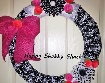 SALE, Black and Pink Wreath,shabby chic wreath, cottage wreath, French damask ribbon wreath, cottage wreath