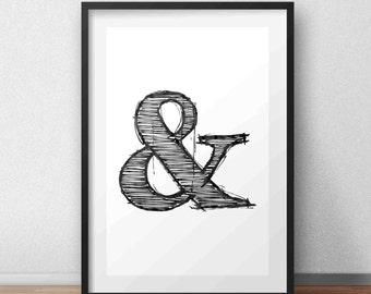 Ampersand print, Wall art, Printable art, Black and white print, Home decor, Typography poster, Printable quotes