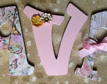 Letters for nursery, Custom wood letters, Baby girl nursery letters, Pink letters, Butterfly nursery letters, Letters for wa