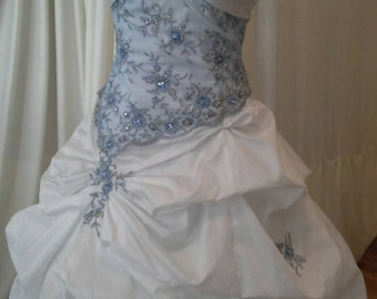 "White and blue ""fairytale"" ballgown/wedding dress"