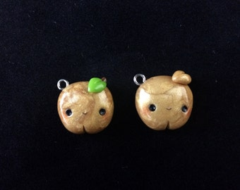 Polymer Clay Golden Apple Charm