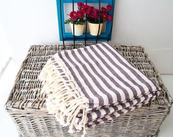 Purple Stripe Turkish Towel,Purple Cotton Towel,Purple Towel,Purple Striped Peshtemal,Purple Stireped Beach Towel,Bath Towel,thick cotton